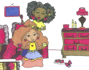 "A page from ""I Love Me And My BIG Hair"" written by Julia R. Davis and Illustrated by Ayanna Davis"